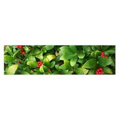 Christmas Season Floral Green Red Skimmia Flower Satin Scarf (oblong)