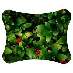 Christmas Season Floral Green Red Skimmia Flower Jigsaw Puzzle Photo Stand (bow)