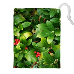 Christmas Season Floral Green Red Skimmia Flower Drawstring Pouches (xxl)