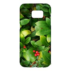 Christmas Season Floral Green Red Skimmia Flower Samsung Galaxy S7 Edge Hardshell Case