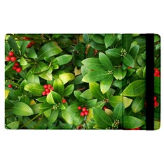 Christmas Season Floral Green Red Skimmia Flower Apple Ipad Pro 9 7   Flip Case