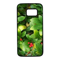 Christmas Season Floral Green Red Skimmia Flower Samsung Galaxy S7 Black Seamless Case