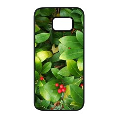 Christmas Season Floral Green Red Skimmia Flower Samsung Galaxy S7 Edge Black Seamless Case