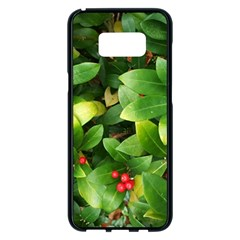 Christmas Season Floral Green Red Skimmia Flower Samsung Galaxy S8 Plus Black Seamless Case