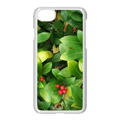 Christmas Season Floral Green Red Skimmia Flower Apple Iphone 8 Seamless Case (white)
