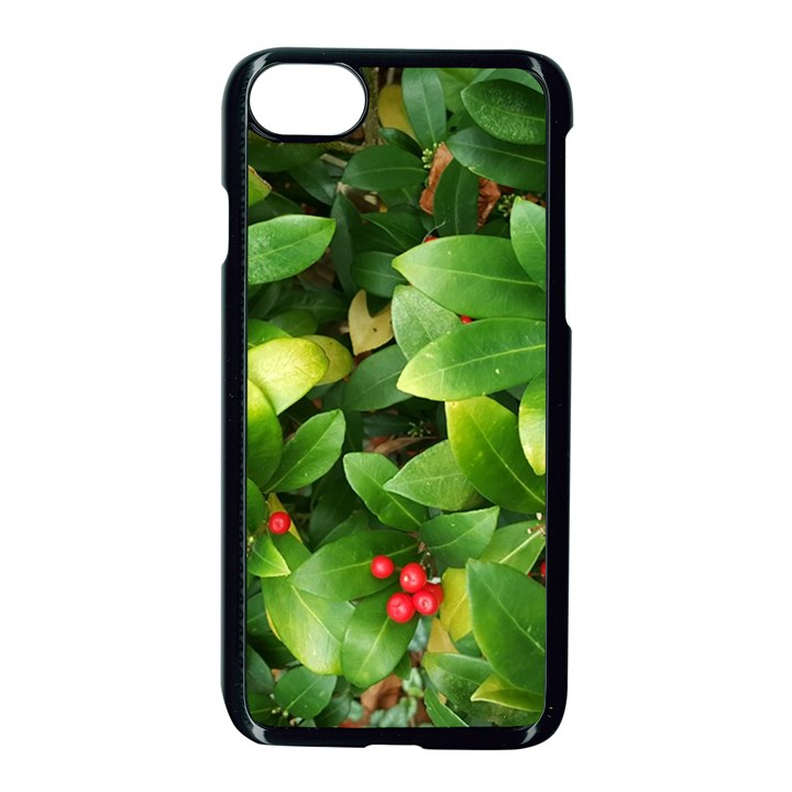 Christmas Season Floral Green Red Skimmia Flower Apple iPhone 8 Seamless Case (Black)