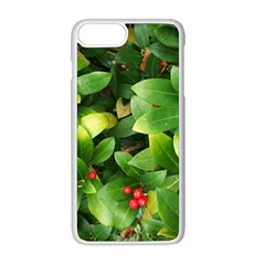 Christmas Season Floral Green Red Skimmia Flower Apple Iphone 8 Plus Seamless Case (white)