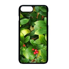 Christmas Season Floral Green Red Skimmia Flower Apple Iphone 8 Plus Seamless Case (black)