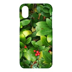 Christmas Season Floral Green Red Skimmia Flower Apple Iphone X Hardshell Case