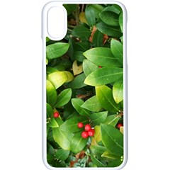 Christmas Season Floral Green Red Skimmia Flower Apple Iphone X Seamless Case (white)