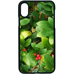 Christmas Season Floral Green Red Skimmia Flower Apple Iphone X Seamless Case (black)
