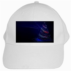 Christmas Tree Blue Stars Starry Night Lights Festive Elegant White Cap