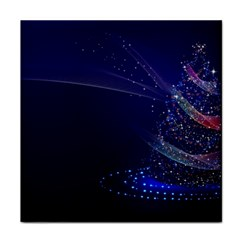 Christmas Tree Blue Stars Starry Night Lights Festive Elegant Tile Coasters
