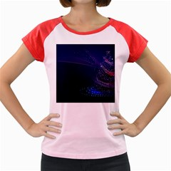 Christmas Tree Blue Stars Starry Night Lights Festive Elegant Women s Cap Sleeve T Shirt