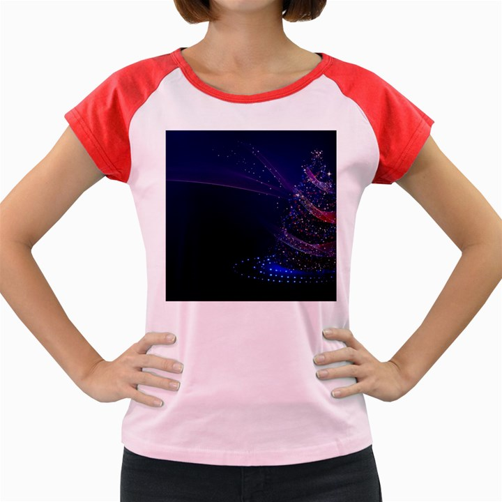 Christmas Tree Blue Stars Starry Night Lights Festive Elegant Women s Cap Sleeve T-Shirt