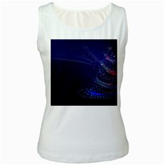 Christmas Tree Blue Stars Starry Night Lights Festive Elegant Women s White Tank Top