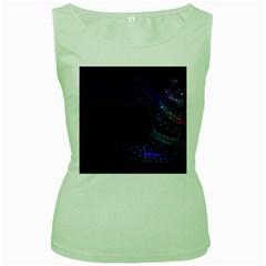 Christmas Tree Blue Stars Starry Night Lights Festive Elegant Women s Green Tank Top