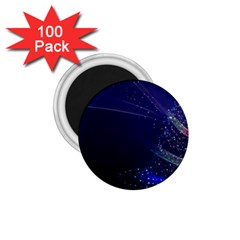 Christmas Tree Blue Stars Starry Night Lights Festive Elegant 1 75  Magnets (100 Pack)