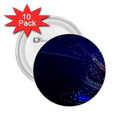 Christmas Tree Blue Stars Starry Night Lights Festive Elegant 2 25  Buttons (10 Pack)
