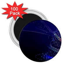 Christmas Tree Blue Stars Starry Night Lights Festive Elegant 2 25  Magnets (100 Pack)