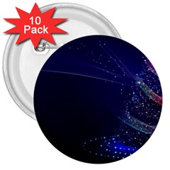Christmas Tree Blue Stars Starry Night Lights Festive Elegant 3  Buttons (10 Pack)