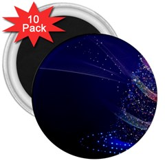 Christmas Tree Blue Stars Starry Night Lights Festive Elegant 3  Magnets (10 Pack)