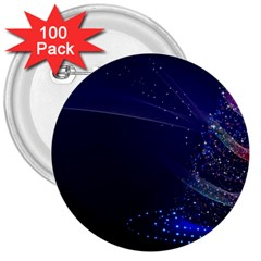 Christmas Tree Blue Stars Starry Night Lights Festive Elegant 3  Buttons (100 Pack)
