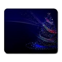 Christmas Tree Blue Stars Starry Night Lights Festive Elegant Large Mousepads