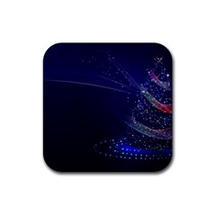 Christmas Tree Blue Stars Starry Night Lights Festive Elegant Rubber Square Coaster (4 Pack)