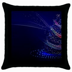 Christmas Tree Blue Stars Starry Night Lights Festive Elegant Throw Pillow Case (black)