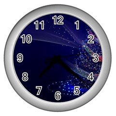 Christmas Tree Blue Stars Starry Night Lights Festive Elegant Wall Clocks (silver)