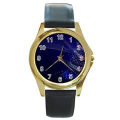 Christmas Tree Blue Stars Starry Night Lights Festive Elegant Round Gold Metal Watch