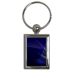 Christmas Tree Blue Stars Starry Night Lights Festive Elegant Key Chains (rectangle)