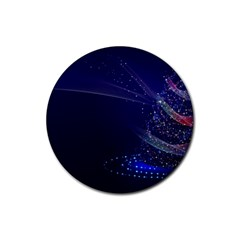 Christmas Tree Blue Stars Starry Night Lights Festive Elegant Rubber Round Coaster (4 Pack)