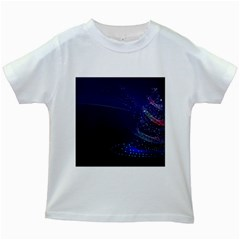 Christmas Tree Blue Stars Starry Night Lights Festive Elegant Kids White T Shirts