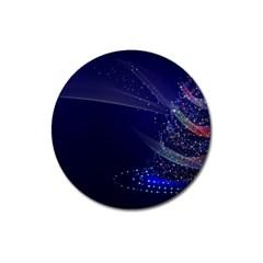 Christmas Tree Blue Stars Starry Night Lights Festive Elegant Magnet 3  (round)