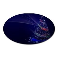 Christmas Tree Blue Stars Starry Night Lights Festive Elegant Oval Magnet