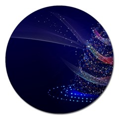 Christmas Tree Blue Stars Starry Night Lights Festive Elegant Magnet 5  (round)