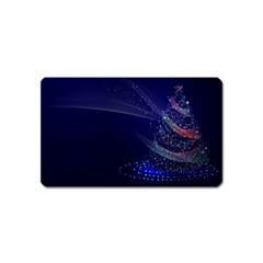 Christmas Tree Blue Stars Starry Night Lights Festive Elegant Magnet (name Card)