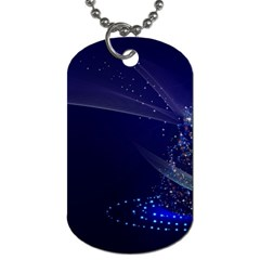 Christmas Tree Blue Stars Starry Night Lights Festive Elegant Dog Tag (two Sides)
