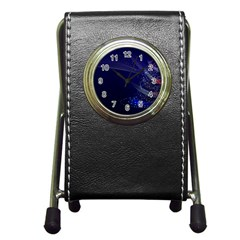 Christmas Tree Blue Stars Starry Night Lights Festive Elegant Pen Holder Desk Clocks