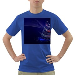 Christmas Tree Blue Stars Starry Night Lights Festive Elegant Dark T Shirt