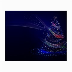 Christmas Tree Blue Stars Starry Night Lights Festive Elegant Small Glasses Cloth