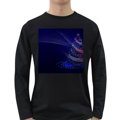 Christmas Tree Blue Stars Starry Night Lights Festive Elegant Long Sleeve Dark T Shirts