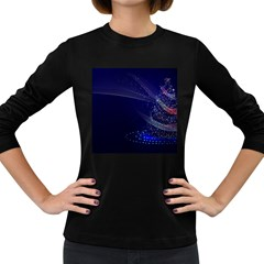 Christmas Tree Blue Stars Starry Night Lights Festive Elegant Women s Long Sleeve Dark T Shirts