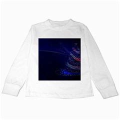 Christmas Tree Blue Stars Starry Night Lights Festive Elegant Kids Long Sleeve T Shirts