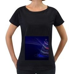 Christmas Tree Blue Stars Starry Night Lights Festive Elegant Women s Loose Fit T Shirt (black)