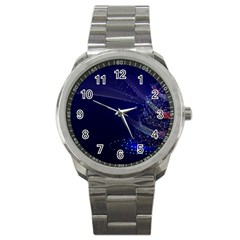 Christmas Tree Blue Stars Starry Night Lights Festive Elegant Sport Metal Watch