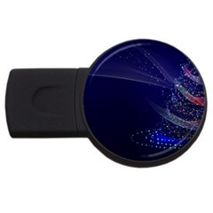 Christmas Tree Blue Stars Starry Night Lights Festive Elegant Usb Flash Drive Round (4 Gb)