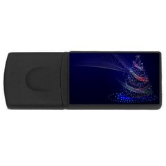 Christmas Tree Blue Stars Starry Night Lights Festive Elegant Rectangular Usb Flash Drive